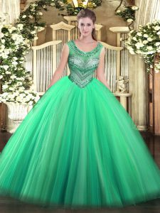 Glittering Ball Gowns Quinceanera Gown Turquoise Scoop Tulle Sleeveless Floor Length Lace Up