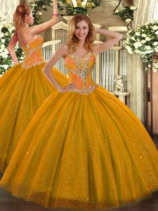 Gold Lace Up Quinceanera Gown Beading Sleeveless Floor Length