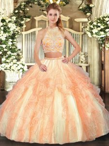 Gold Two Pieces Beading and Ruffled Layers Quince Ball Gowns Criss Cross Tulle Sleeveless Floor Length