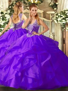 Tulle Straps Sleeveless Lace Up Beading and Ruffles Quince Ball Gowns in Purple