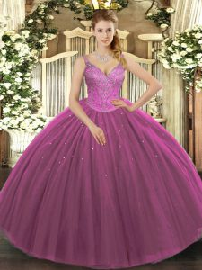 Exceptional Sleeveless Floor Length Beading Lace Up Quinceanera Gown with Fuchsia