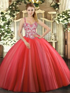 Adorable Coral Red Sleeveless Tulle Lace Up Quinceanera Gown for Sweet 16 and Quinceanera