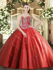 Custom Fit Red Sleeveless Beading and Appliques Floor Length Quinceanera Gowns