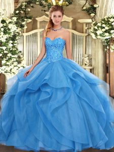 Sweet Baby Blue Sweetheart Lace Up Beading and Ruffles Ball Gown Prom Dress Sleeveless