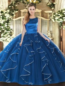 Blue Sleeveless Ruffles Floor Length Quinceanera Gowns
