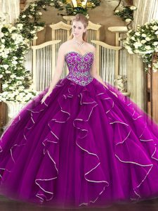 Sleeveless Tulle Floor Length Lace Up Sweet 16 Dresses in Fuchsia with Beading and Ruffles