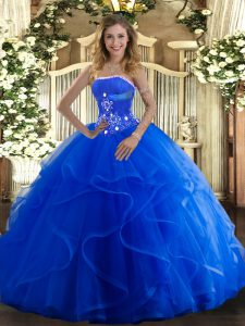 Blue Tulle Lace Up Strapless Sleeveless Floor Length Quinceanera Gowns Beading and Ruffles