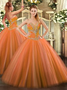 Orange Red Tulle Lace Up Vestidos de Quinceanera Sleeveless Floor Length Beading
