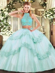 Sumptuous Floor Length Criss Cross Quinceanera Dresses Apple Green for Military Ball and Sweet 16 and Quinceanera with Beading and Appliques and Ruffles