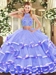 Classical Halter Top Sleeveless Criss Cross Quinceanera Gowns Lavender Tulle