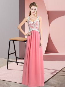 Watermelon Red Empire V-neck Sleeveless Chiffon Floor Length Zipper Lace Prom Dresses