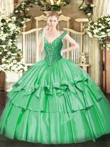 Green Lace Up Quince Ball Gowns Beading and Ruffled Layers Sleeveless Floor Length