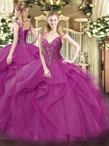 Sleeveless Tulle Floor Length Lace Up Vestidos de Quinceanera in Lilac with Beading and Ruffles