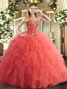 Modern Watermelon Red Tulle Lace Up Sweetheart Sleeveless Floor Length Quinceanera Gowns Embroidery and Ruffles