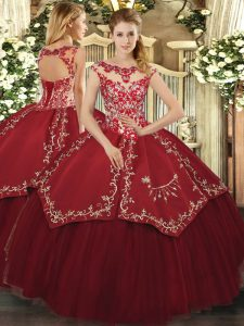 Classical Floor Length Wine Red Quinceanera Dress Scoop Cap Sleeves Lace Up