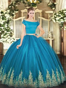 Teal Quince Ball Gowns Military Ball and Sweet 16 and Quinceanera with Appliques Off The Shoulder Short Sleeves Zipper