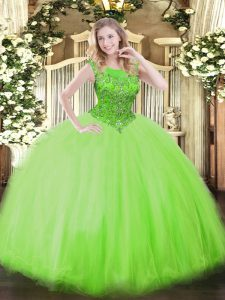 Dazzling Scoop Sleeveless Sweet 16 Quinceanera Dress Floor Length Beading Tulle