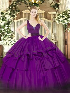 Great Floor Length Purple Ball Gown Prom Dress Straps Sleeveless Zipper