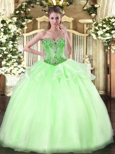 High End Apple Green Sweetheart Neckline Beading Vestidos de Quinceanera Sleeveless Lace Up