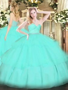 Exquisite Apple Green Ball Gowns Beading and Lace and Ruffled Layers Vestidos de Quinceanera Zipper Tulle Sleeveless Floor Length