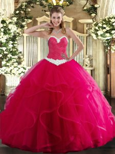 Hot Pink Tulle Lace Up Quinceanera Gowns Sleeveless Floor Length Appliques and Ruffles
