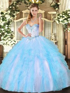 Hot Sale Aqua Blue Lace Up Sweetheart Beading and Ruffles 15 Quinceanera Dress Tulle Sleeveless