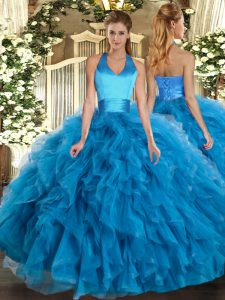 Beautiful Baby Blue Ball Gowns Ruffles Quinceanera Dresses Lace Up Organza Sleeveless Floor Length