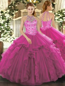 Fuchsia Lace Up Sweet 16 Dress Beading Sleeveless Floor Length