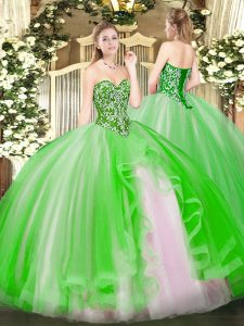 Lace Up Sweetheart Beading and Ruffles 15th Birthday Dress Tulle Sleeveless