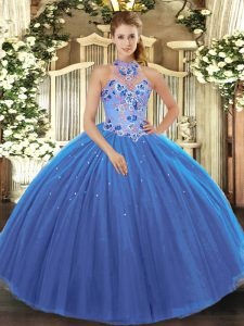 Floor Length Blue Quince Ball Gowns Halter Top Sleeveless Lace Up
