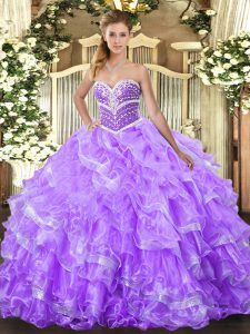 Excellent Sweetheart Sleeveless Organza Vestidos de Quinceanera Ruffled Layers Lace Up