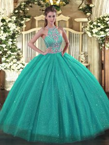 Luxury Ball Gowns 15 Quinceanera Dress Turquoise Halter Top Tulle Sleeveless Floor Length Lace Up