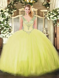 Trendy Yellow Green Sleeveless Floor Length Beading Lace Up Vestidos de Quinceanera
