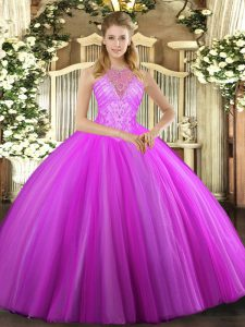 Customized Fuchsia Sweet 16 Dresses Military Ball and Sweet 16 and Quinceanera with Beading High-neck Sleeveless Lace Up