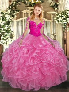 Rose Pink Scoop Lace Up Lace and Ruffles Ball Gown Prom Dress Long Sleeves