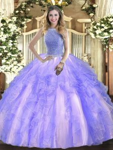 Clearance Lavender Ball Gowns Tulle High-neck Sleeveless Beading and Ruffles Floor Length Lace Up Sweet 16 Dress