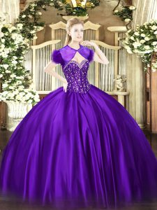 Custom Design Floor Length Ball Gowns Sleeveless Purple Quinceanera Dress Lace Up