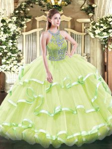 Floor Length Yellow Green Quinceanera Gown Tulle Sleeveless Beading and Ruffled Layers