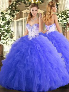 Blue Lace Up Quinceanera Dresses Beading and Ruffles Sleeveless Floor Length
