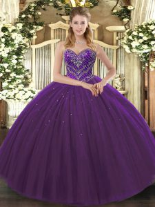 Sweetheart Sleeveless 15 Quinceanera Dress Floor Length Beading Dark Purple Tulle