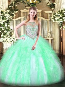 Glamorous Apple Green Ball Gowns Beading and Ruffles 15 Quinceanera Dress Zipper Tulle Sleeveless Floor Length