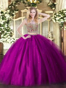 Wonderful Fuchsia Scoop Lace Up Beading Sweet 16 Dresses Sleeveless