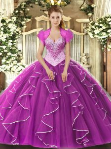 Perfect Sleeveless Tulle Floor Length Lace Up Sweet 16 Dresses in Fuchsia with Beading
