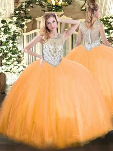 Custom Fit Orange Red Vestidos de Quinceanera Military Ball and Sweet 16 and Quinceanera with Beading Scoop Sleeveless Zipper