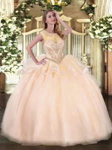 Floor Length Peach Sweet 16 Dresses Organza Sleeveless Beading