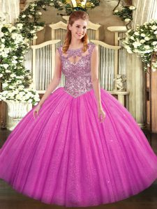 Fuchsia Ball Gowns Scoop Sleeveless Tulle Floor Length Lace Up Beading 15 Quinceanera Dress