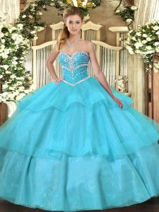Sophisticated Floor Length Lace Up Ball Gown Prom Dress Aqua Blue for Military Ball and Sweet 16 and Quinceanera with Beading and Ruffled Layers