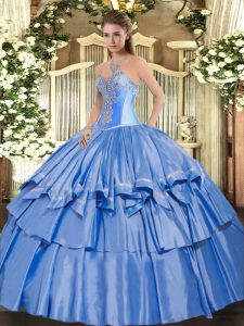 Smart Baby Blue Ball Gowns Organza and Taffeta Sweetheart Sleeveless Beading and Ruffled Layers Floor Length Lace Up Quinceanera Dresses