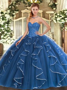 Blue Sleeveless Beading and Ruffles Floor Length Quince Ball Gowns