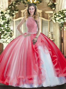 Custom Design Sleeveless Tulle Floor Length Lace Up Sweet 16 Dresses in Red with Beading and Ruffles